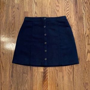 Hollister Black Suede Button Skirt